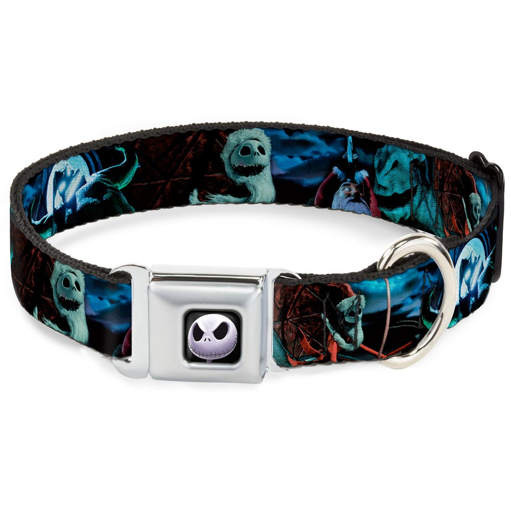 Buckle-Down Seatbelt Buckle Dog Collar NBC Jack, Oogie Boogie, Santa Scene 1  Wide Fits 11-17  Neck Medium