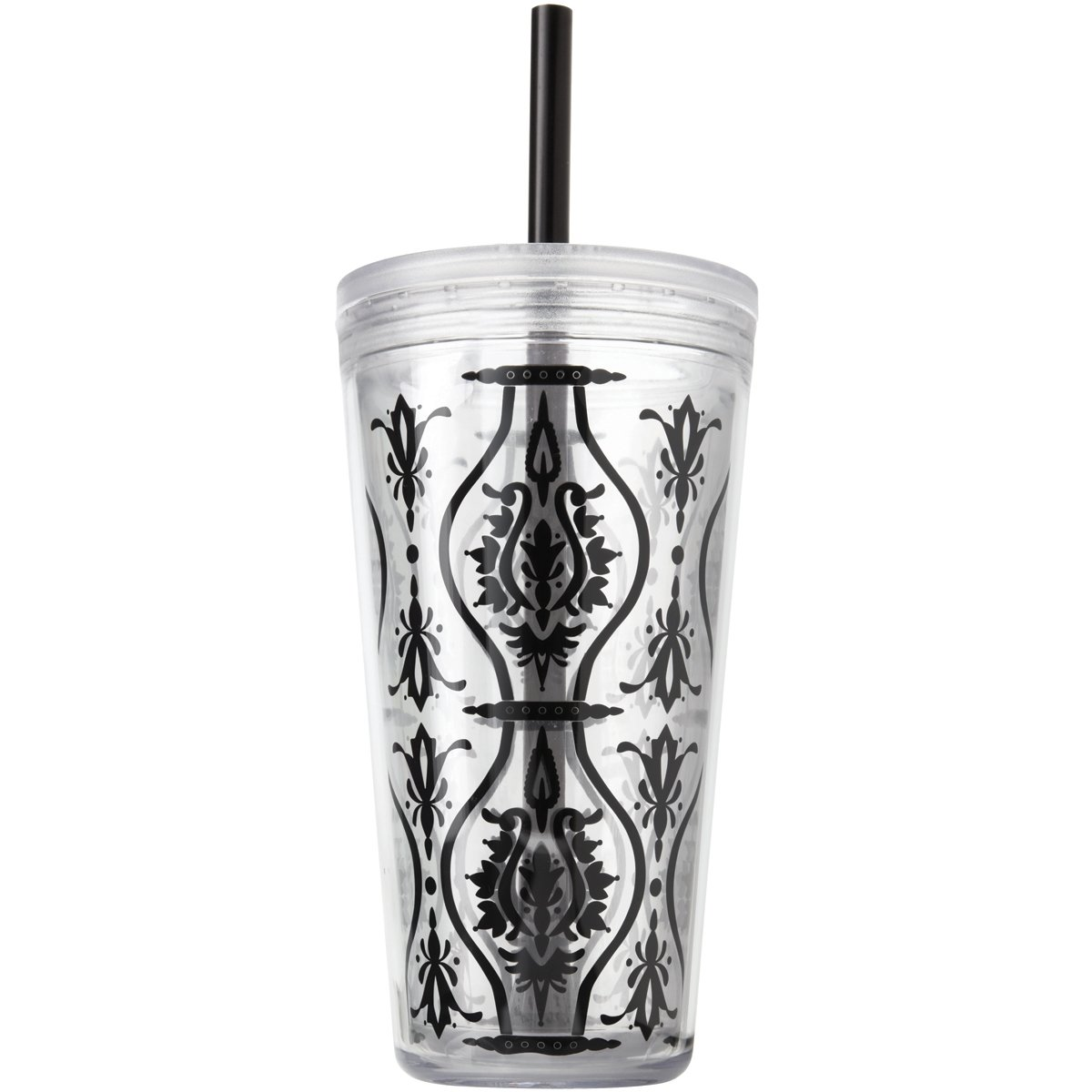 Copco 2510-0261 Minimus Double Wall Insulated Tumbler with Removable Straw, 24-Ounce, Damask Black