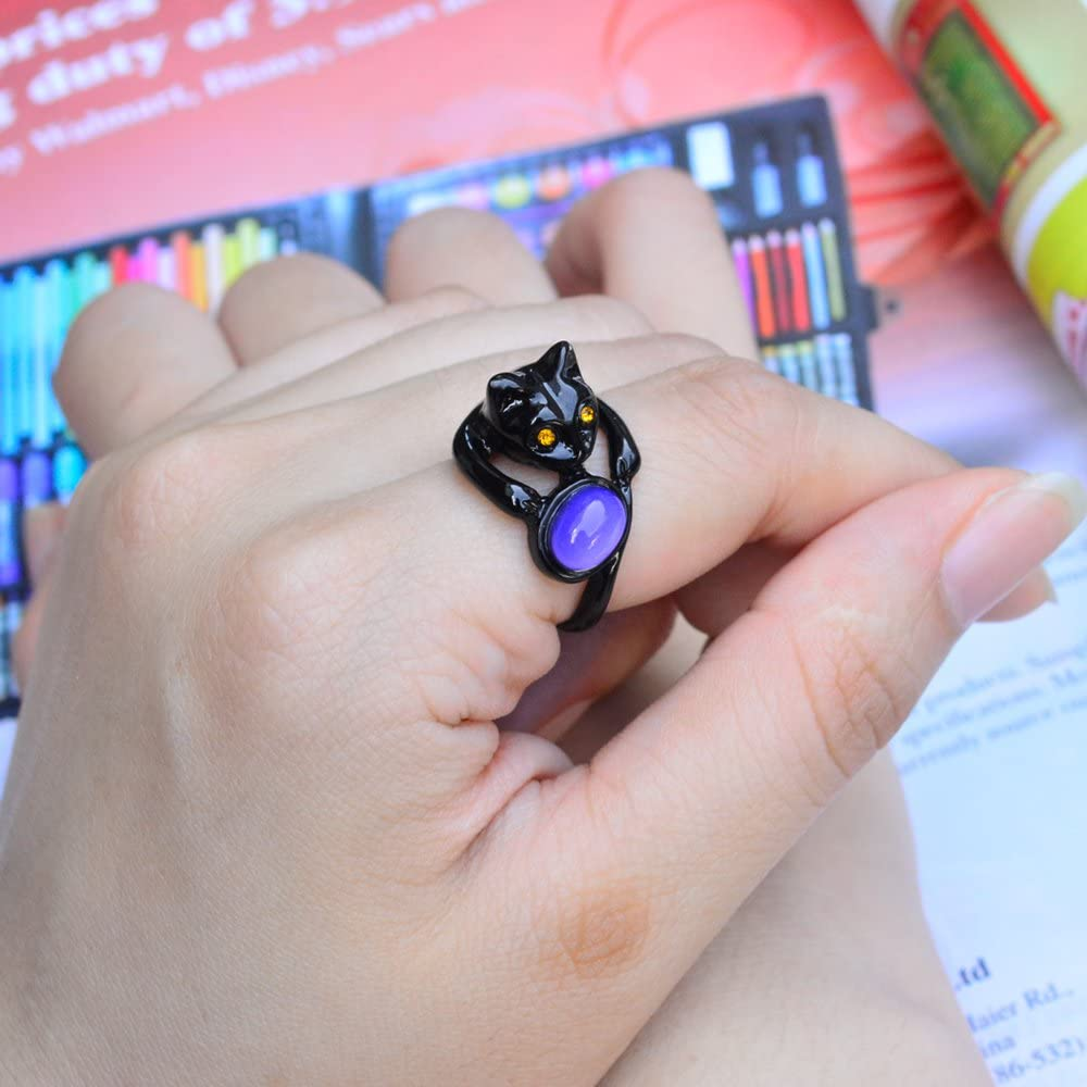 Fun Jewels Cute Black Cat Kitty Animal Wrap Color Change Oval Stone Mood Ring for Pet Lovers