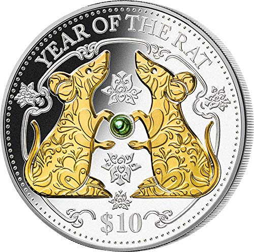 (2020 FJ Pearl Lunar Year PowerCoin RAT Green Freshwater Pearl Chinese Lunar Year 1 Oz Silver Coin 10$ Fiji 2020 Proof)