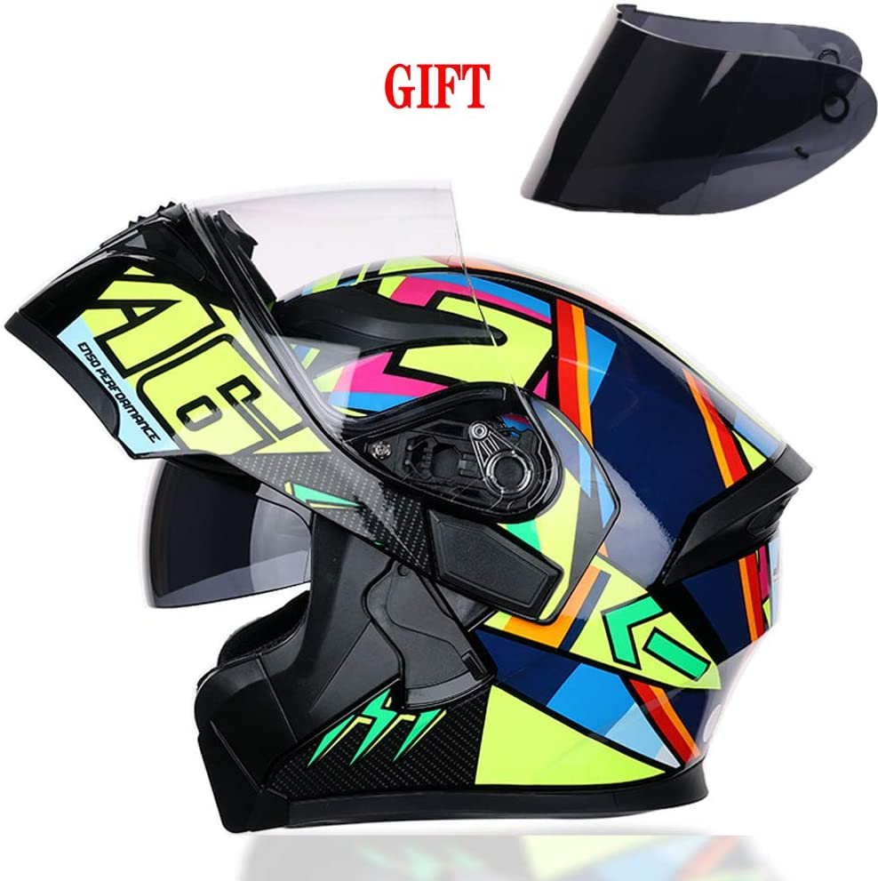 Full-Face Moto-Helmet Suitable for Urban Sport Scooter Cruiser 57-64Cm,Colorful,M Free Brown Outer Sun Visor DOT//ECE Certified Dual Sun Visor TANMIN Fashion Colorful Motorcycle-Helmet