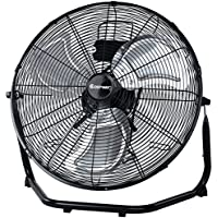 Costway 20-Inch 3-Speed High Velocity Metal Floor Fan, Black