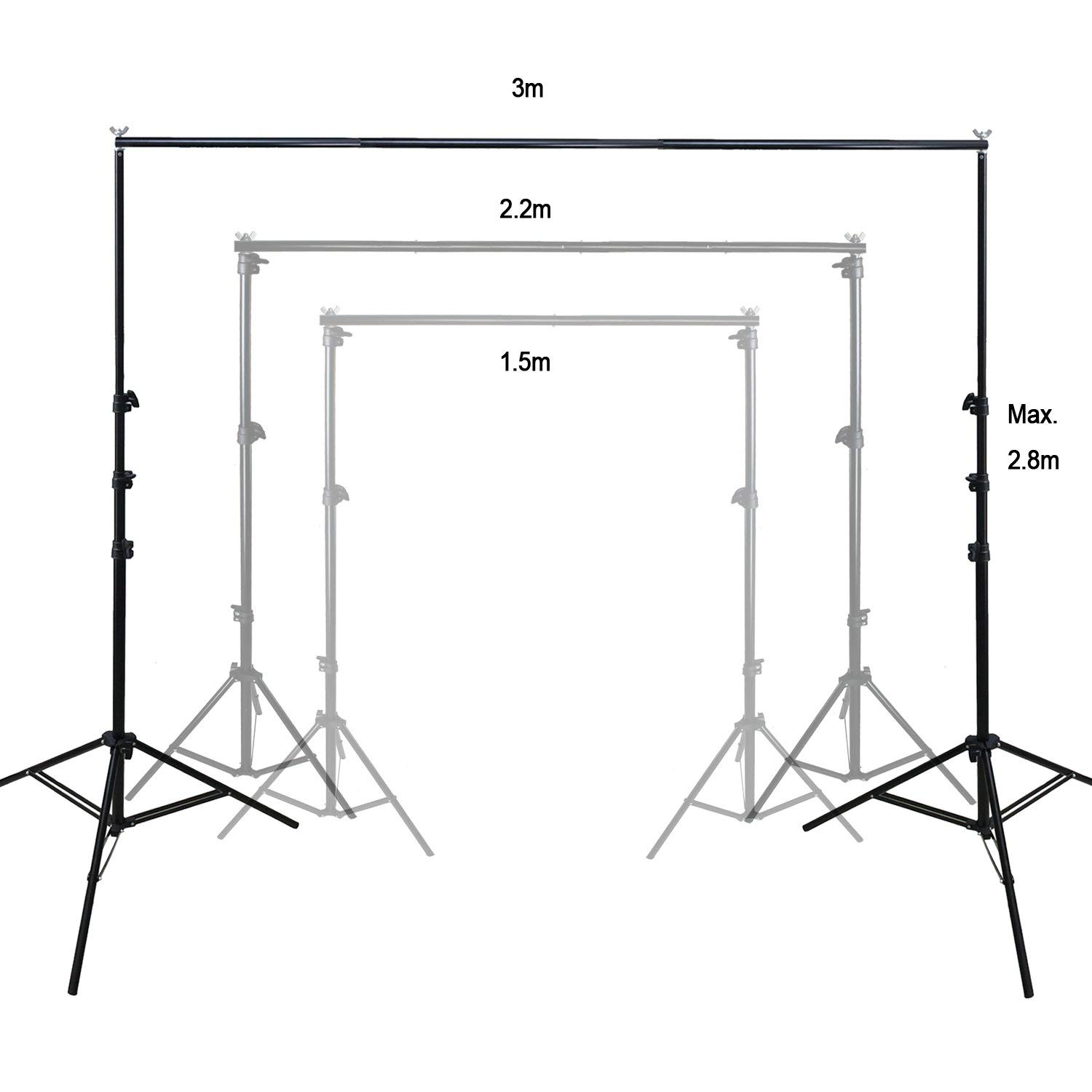 6.5/x 9 Inch Background Stand Support System Kit for Backdrops RPGT 2/m x 2.8/m