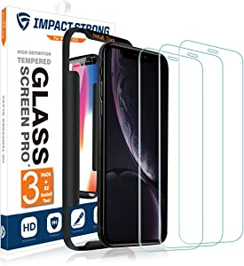 ImpactStrong iPhone XR / 11 Glass Screen Protector (3-Pack) Anti-Scratch Tempered Glass Film with Easy Installation Tool [Case Friendly] for Apple iPhone XR / 11 (6.1 Inch) - 3 Pack