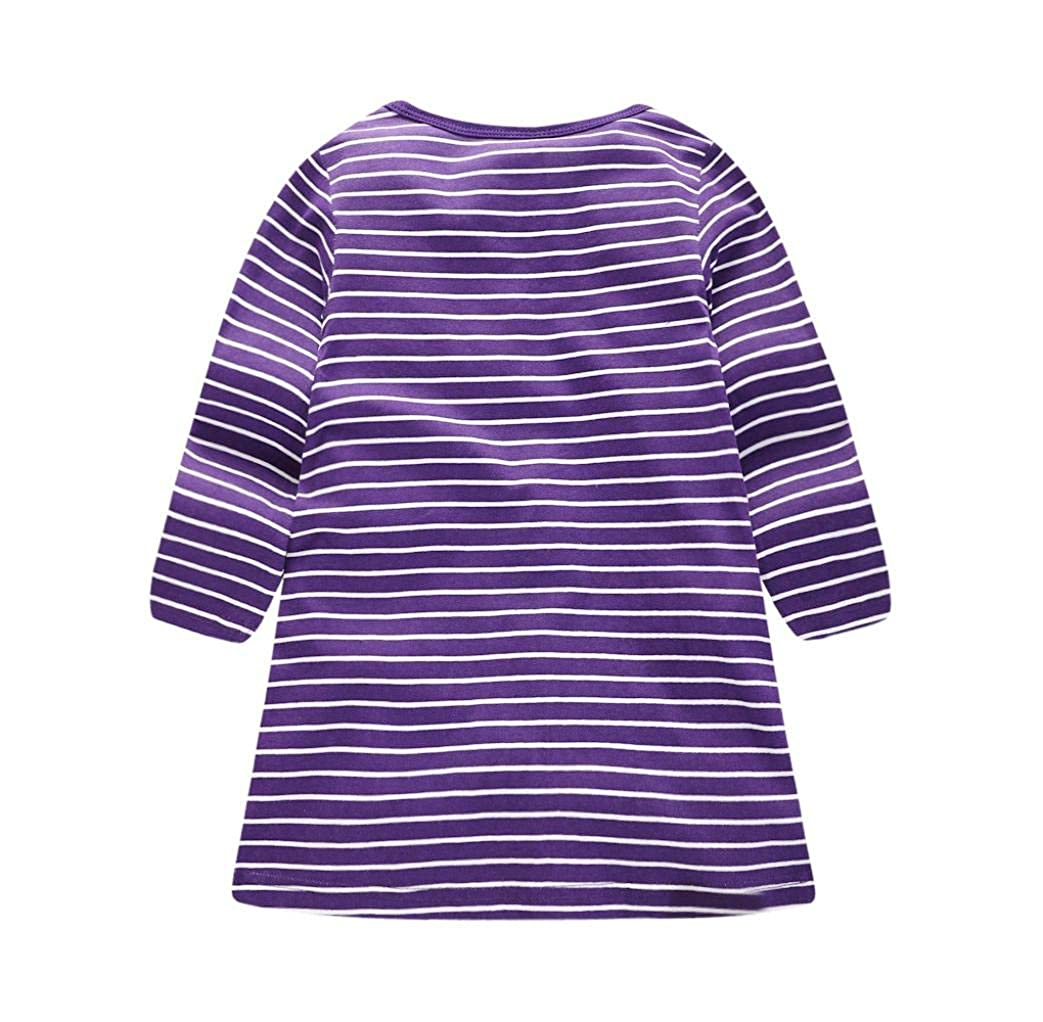 KONFA Teen Baby Girls Animals Stripes Dress,Suitable for 1-7 Years Old,Little Princess Sundress Skirt Clothing Set