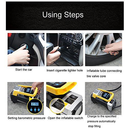 Auto portable Air Compressor Tire Inflator, Digital Air Compressor Pump for car tires, 12V 150 PSI Tire Pump for Car, Truck, Bicycle, RV and Other Inflatables by EAUSPL (Image #3)