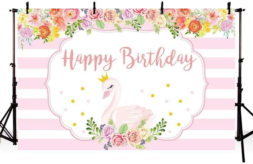 New Swan Girl Happy Birthday Party Photo Studio Booth Backgrounds Pink Floral Princess Birthday Pink and White Stripes Photography Backdrop Banner 7x5ft