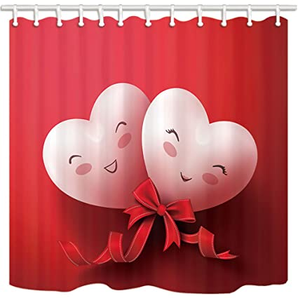 NYMB Valentines Day Shower Curtain Funny Heart Shaped Smiling Face Couple Bathroom Mildew Resistant