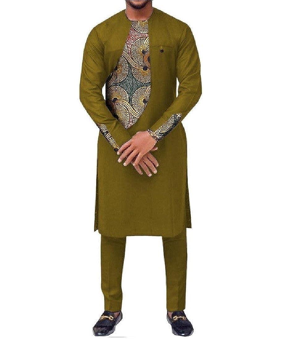 Abetteric Men Retro Dashiki 2 Piece Set Fit Africa Pullover Splice Pants