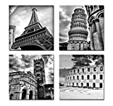 Wieco Art - Architectures Modern 4 Panels Giclee Canvas Prints Europe Buildings Black and White Landscape Pictures Paintings on Canvas Wall Art Ready to Hang for Bedroom Home Office Decorations