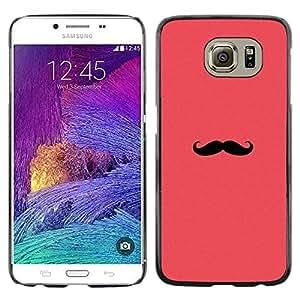 FlareStar Colour Printing Moustache Pink Red Hipster Minimalist cáscara Funda Case Caso de plástico para Samsung Galaxy S6 / SM-G920 / SM-G920A / SM-G920T / SM-G920F / SM-G920I