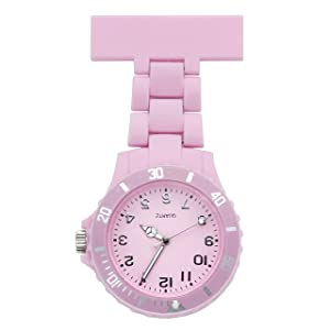 JSDDE Women's Girls' Fashion Nurse Clip-on Fob Brooch Lapel Hanging Pocket Watch, Pink
