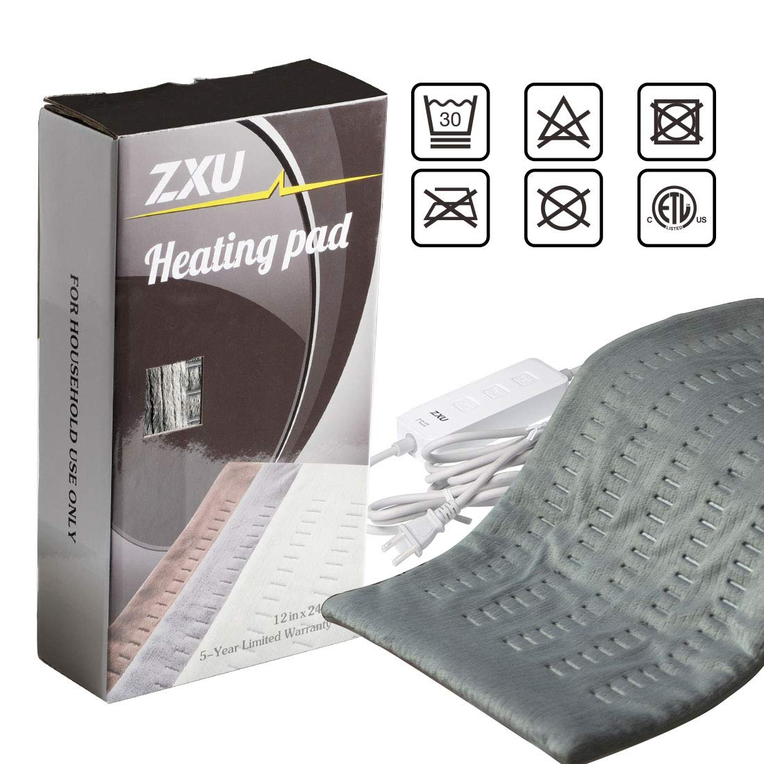 "ZXU XL Weighted Electric Heating Pad for Back Pain and Cramps Relief - Fast Heating Hot Pad with Auto Shut Off [12""x24""]"
