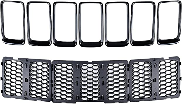For 14-16 Grand Cherokee Chrome Silver Inserts Mesh Grille Trim Grill Honey Comb