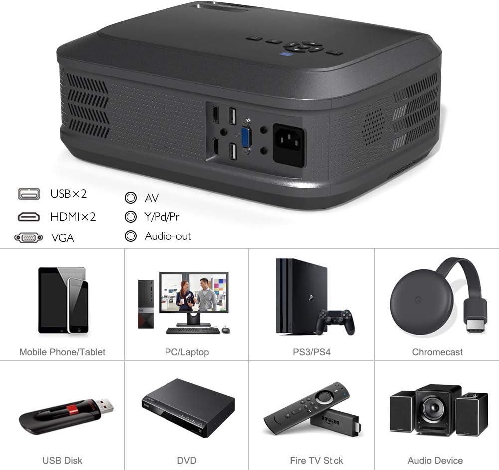 KOOLEVER Vid/éoprojecteur Full HD 1080P Natif 5000 Lumens R/étroprojecteur LED pour Cin/éma Maison Pr/ésentation de lEntreprise Compatible VGA HDMI AV USB Micro SD Projecteur HD