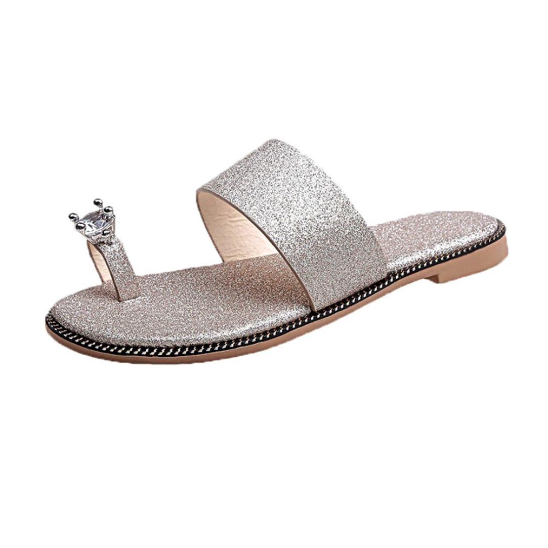 Pantoffeln Damen Sommer LUCKYCAT Solid Color Diamond Clip Fuuml;szlig;e Mit Flachen Sandalen Pantoffeln Strandschuhe HausschuheCN:37=EU:36|Gold
