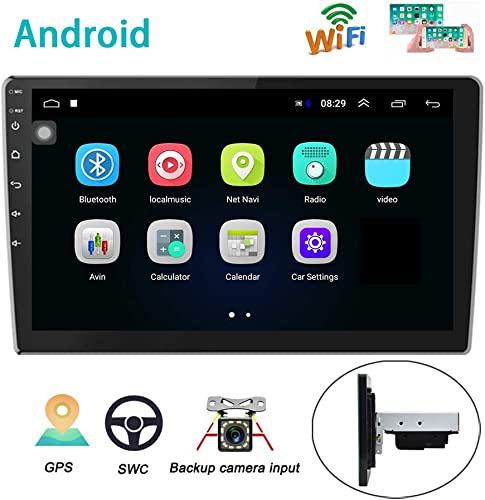 Android Car Radio GPS Sat Navi 10 Inch 2.5D Glass Touch Screen AMprime Stereo Player Bluetooth WiFi FM Receiver Mobile Phone Mirror Link Dual USB Backup Camera