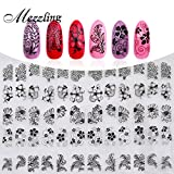 New 3D Black Flowers Nail Stickers Decals,108pcs/sheet Top Quality Metallic Mixed Designs Adhesive DIY Nail Art Decoration Tool 3D Metallic Black Flowers Nail Art Stickers Size: 1Big sheet is 18cmX22cm. For each sticker,there are some small s...
