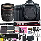 Canon EOS 5D Mark IV DSLR Full-Frame 30.4 MP Digital Camera with Built-in Wi-Fi, GPS & NFC STARTER Lens Kit with EF 24-70mm f/4L IS USM Lens & Deluxe Camera Works Accessory Bundle
