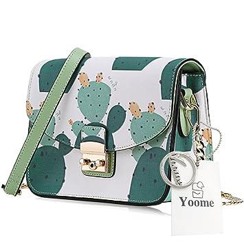 Yoome Freehand Cactus lindo patrón de dibujos animados de la cadena de patrón bolsa bolsa de sobres pequeñas carteras para las niñas adolescentes: ...