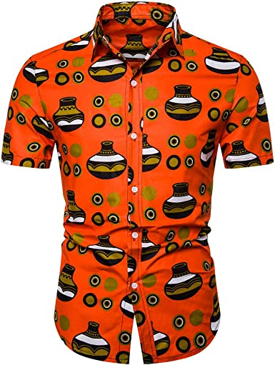 Cocoty-store 2019 Camisa Hawaiana para Hombre Funky Casual Button Down Very Loud Manga Corta Unisex, S, M, L, XL, 2XL, Naranja: Amazon.es: Ropa y accesorios