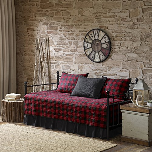 Buffalo Check Red/ Black Year Round Cotton Printed 5 Pieces Day Bed Cover Set