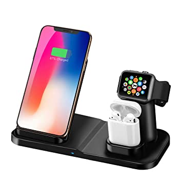 Cargador Inalámbrico, Base de Carga Inalámbrica 3 en 1 Carga Estación para iPhone Apple iWatch Airpods Teléfono Soporte de Tableta de Escritorio ...