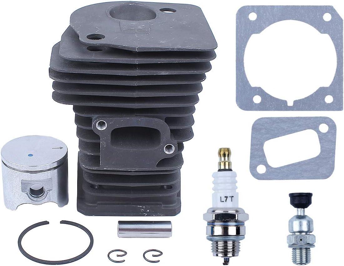 Haishine Kit de válvula de descompresión de Anillo de pistón de Cilindro de 42 mm Nikasil para Motosierra Husqvarna 340 345 E/EPA 350EPA 503870276,503870274