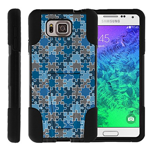 TurtleArmor | Samsung Galaxy Alpha Case | G850 [Gel Max] Dual Layer Hybrid Shock Silicone Hard Shell Case Kickstand Cool Designs - Blue Puzzle Pieces