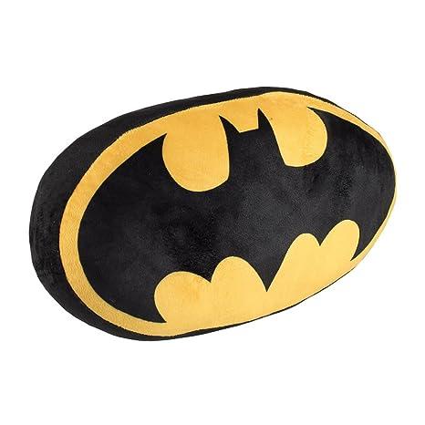 Cerdá- Batman Cojín Terciopelo, Estampado, Color Negro y Amarillo, 34x22x15 cm (2600-0141)