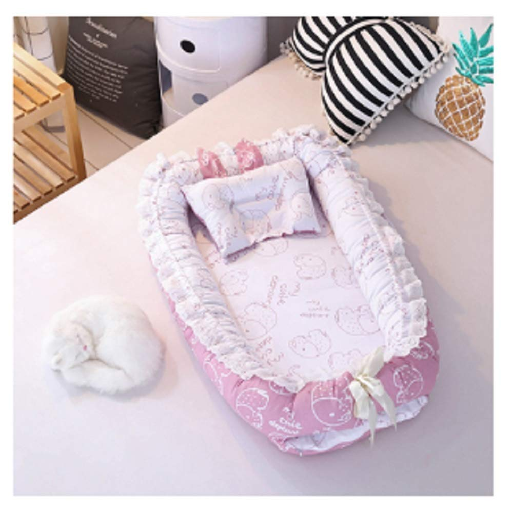 Baby Nest Bed Travel Crib Baby Bed Infant CO Sleeping Cotton Cradle Portable Snuggle 9055cm Newborn Baby Bassinet BB Artifact - Elephant Pink by Hwealth