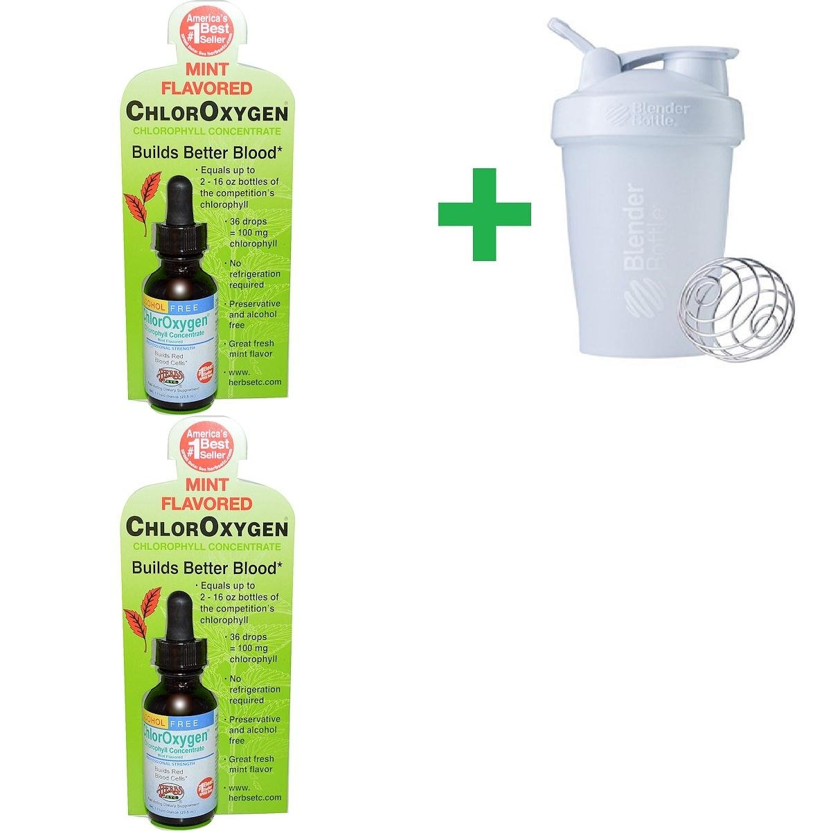 Herbs Etc, ChlorOxygen, Chlorophyll Concentrate, Alcohol Free, Mint Flavored, 1 fl oz (29.5 ml)(2 PCS)+ Assorted Sundesa, BlenderBottle, Classic with Loop, 20 oz
