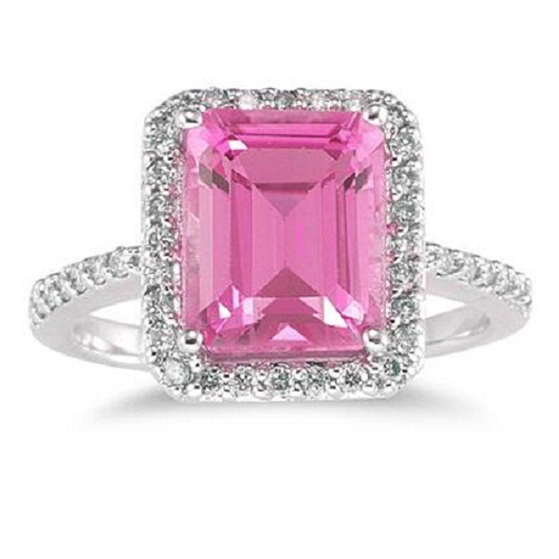 Silvercz Jewels 4 1/2 Carat Emerald Cut Pink Sapphire and Sim ...