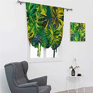 """Roman Shades for Windows Plant Tie Up Curtains for Window Exotic Leaves Watercolor 48"""" Wide by 72"""" Long"""