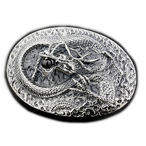 LINSION Classic Design Kungfu Dragon Belt Buckle 925 Sterling Silver 9C001 by LINSION