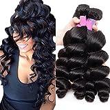 Sunwell Brazilian Loose Wave Virgin Hair 2 Bundles 7A Unprocessed Human Hair Weave Extensions 100g/pc Natural Black (16