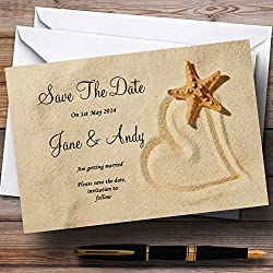 Sandy Beach Romantic Personalized Wedding Save The Date Cards