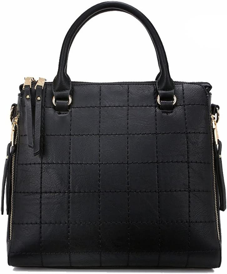 Color : Black Women Classic Handbags Womens Red Plaid Tote Bag Joker Large Capacity Leather Shoulder Crossbody Handbag Birthday Gift