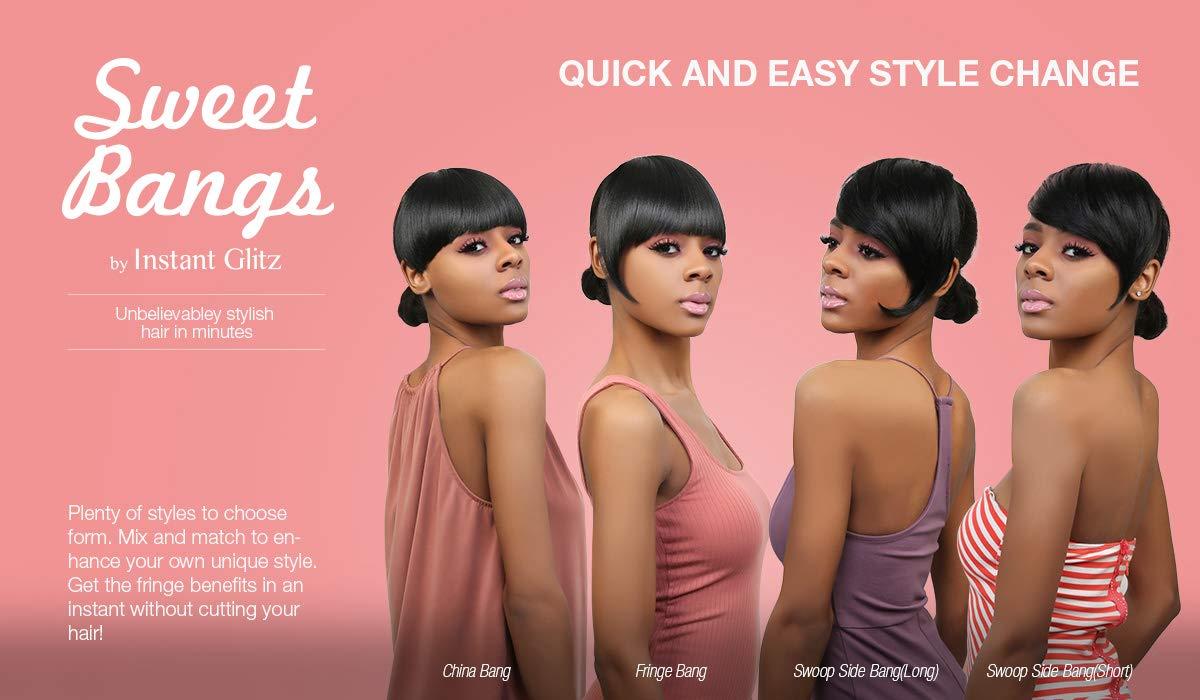 Amazon Com Instant Glitz Synthetic Hair Bang Sweet Bangs Swoop Side Bang S 1 Beauty