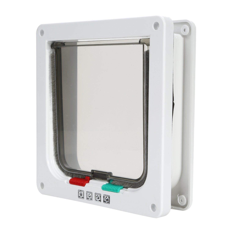 TKOOFN® 4-Modo Puerta Magnética Bloqueable de Aleta para Gato Gatito Perro Perrito Mascota Seguridad (L, Blanco)