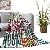 PrimoMol Flannel Fleece Blanket Modern,Music Typography in Various Styles Rhythm Acoustic Harmony Melody