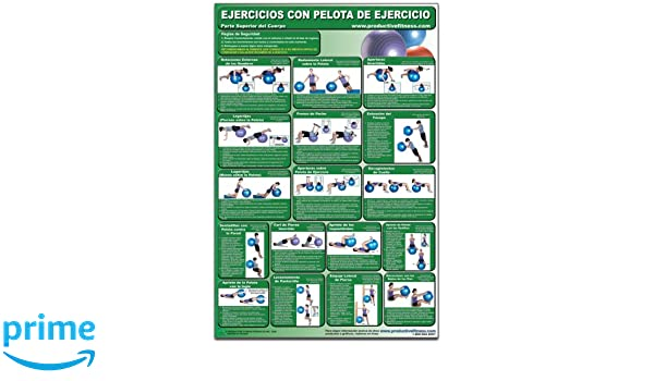 Ejercicios con pelota de ejercicio - Parte superior del cuerpo - Cartel - Body Ball Exercises - Upper body/Lower Body (Spanish Edition) CBBUL-SP (Poster): ...