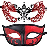 IETANG One Pair Couples Half Wedding Venetian Masquerade Ball Masks Party Costume Accessory (Red+Red)
