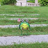 W-DIAN solar metal art outdoor Patio decorative Animal garden decor LED lawn Metal Decorative frog Statue