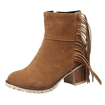 7846d153fc45 Besde Women s Gorgeous Bohemian Tassel Ankle Boots  Classic T-Strap Platform  Square Mid-