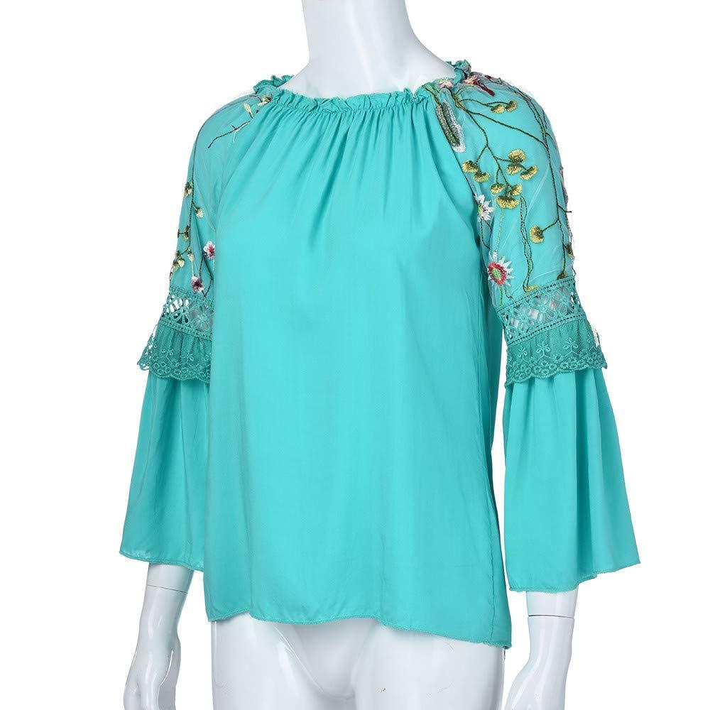 ALIKEEY Blusa Con Cuello En V De HarryStore Blusa Con Cuello En V Floral Blusa Con Cuello En V De Encaje Con Bordado F: Amazon.es: Ropa y accesorios