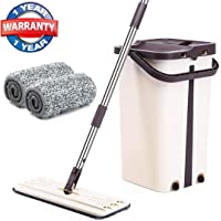Mop Bucket Smart Saver Easy Flat Mop Stick Rod with Bucket Set in Offer for Wet & Dry Use, Best 360 Degree Spin Magic Floor Cleaning for Home, Office and 2 Refill Washable Head