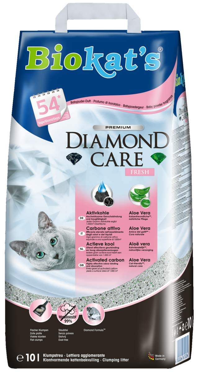 Biokats Diamond Care Fresh, arena para gatos con fragancia - Arena aglomerante para gatos: de alta calidad, con carbón activo y aloe vera - 1 bolsa ...