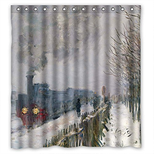 TonyLegner Polyester Art Painting Train in The Snow The Locomotive 1875 Bathroom Curtains Width X Height / 72 X 72 inches/W H 180 180 cm Best Choice Him Kids Kids Boys Birthday Couples. Waterproof ()
