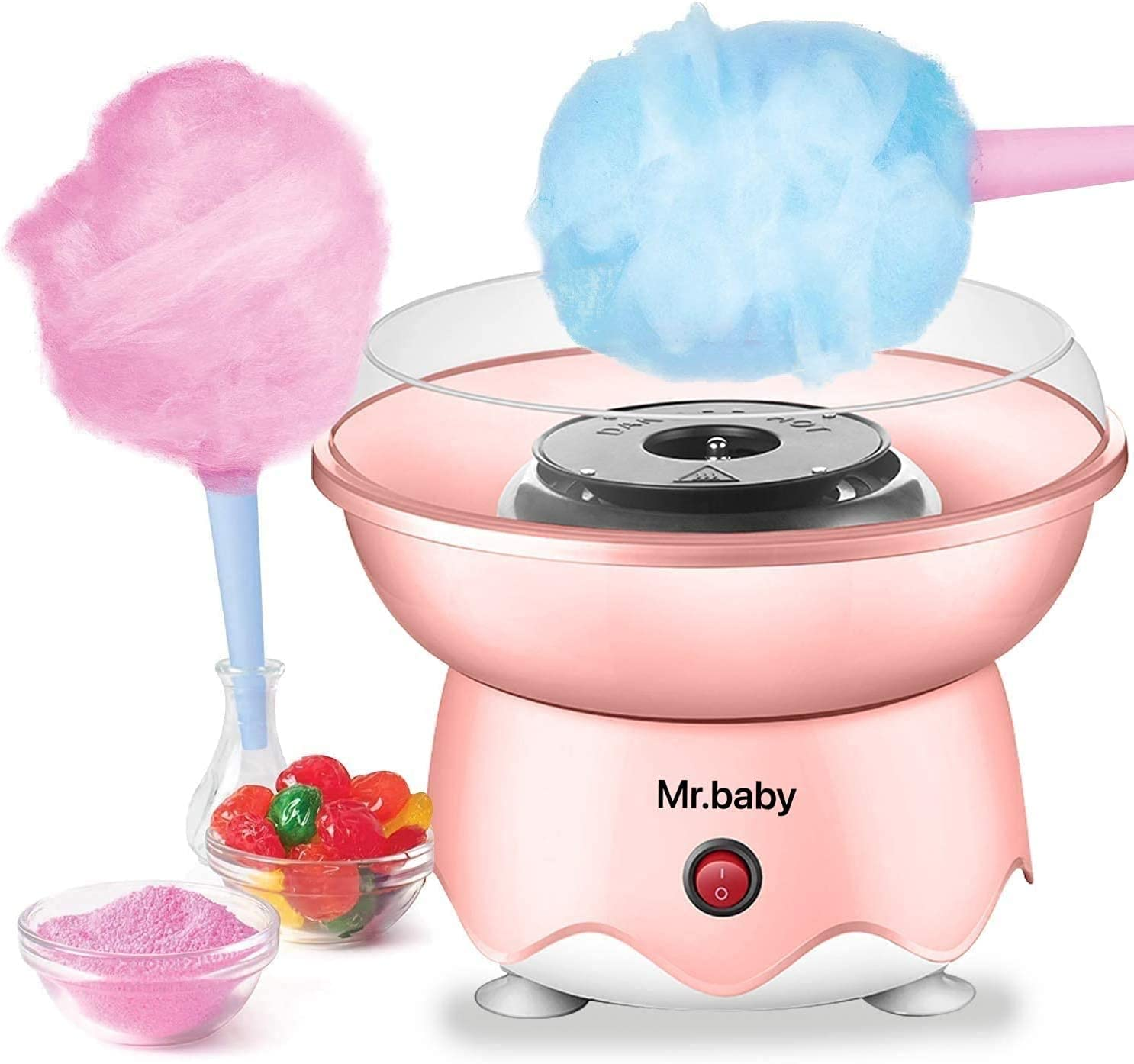 Cotton Candy Maker, Cotton Candy Machine for Home Birthday Family Party Christmas Gift - Includes 10 Cones And Sugar Scoop
